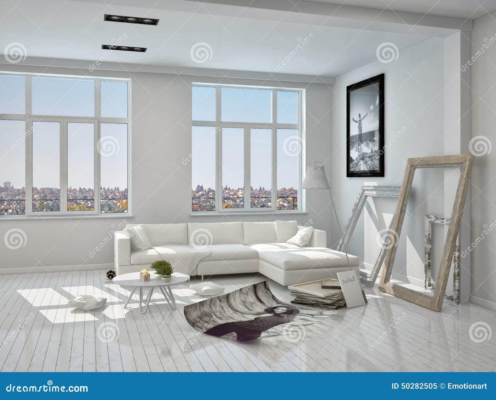 Koraalkleur De Woonkamer : Witte woonkamer met onvolledige decoratie stock illustratie