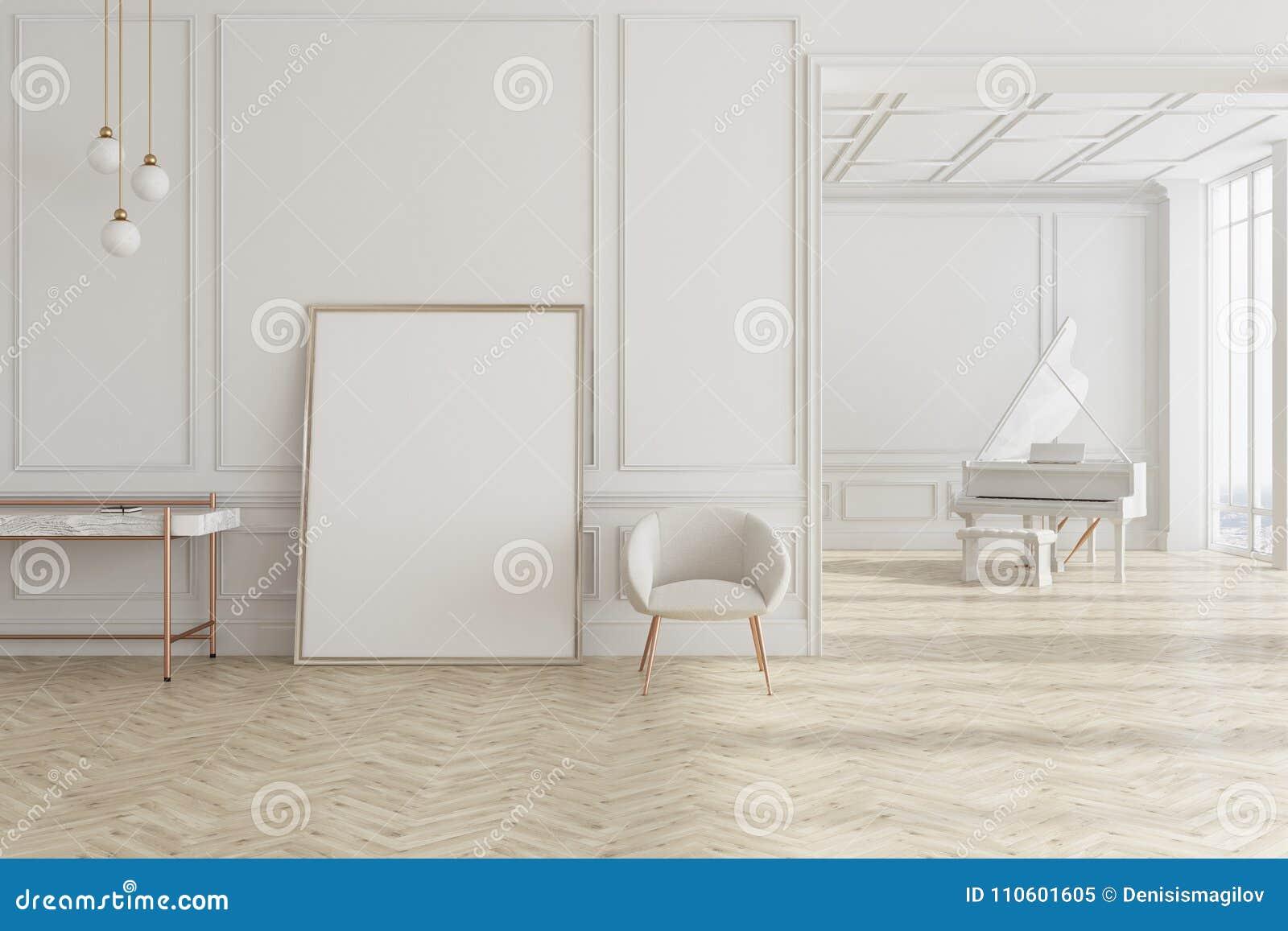 Koraalkleur De Woonkamer : Witte woonkamer met piano en affiche stock illustratie
