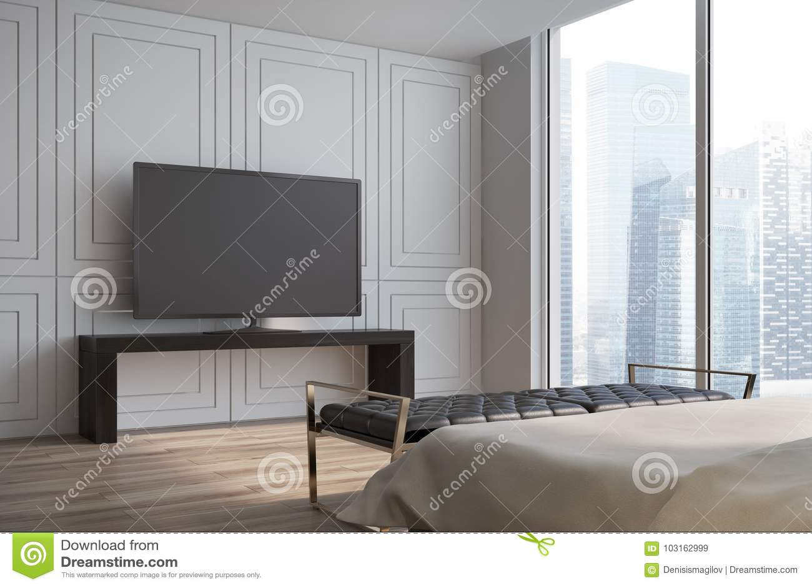 Koraalkleur De Woonkamer : Witte woonkamer televisie zijaanzicht stock illustratie