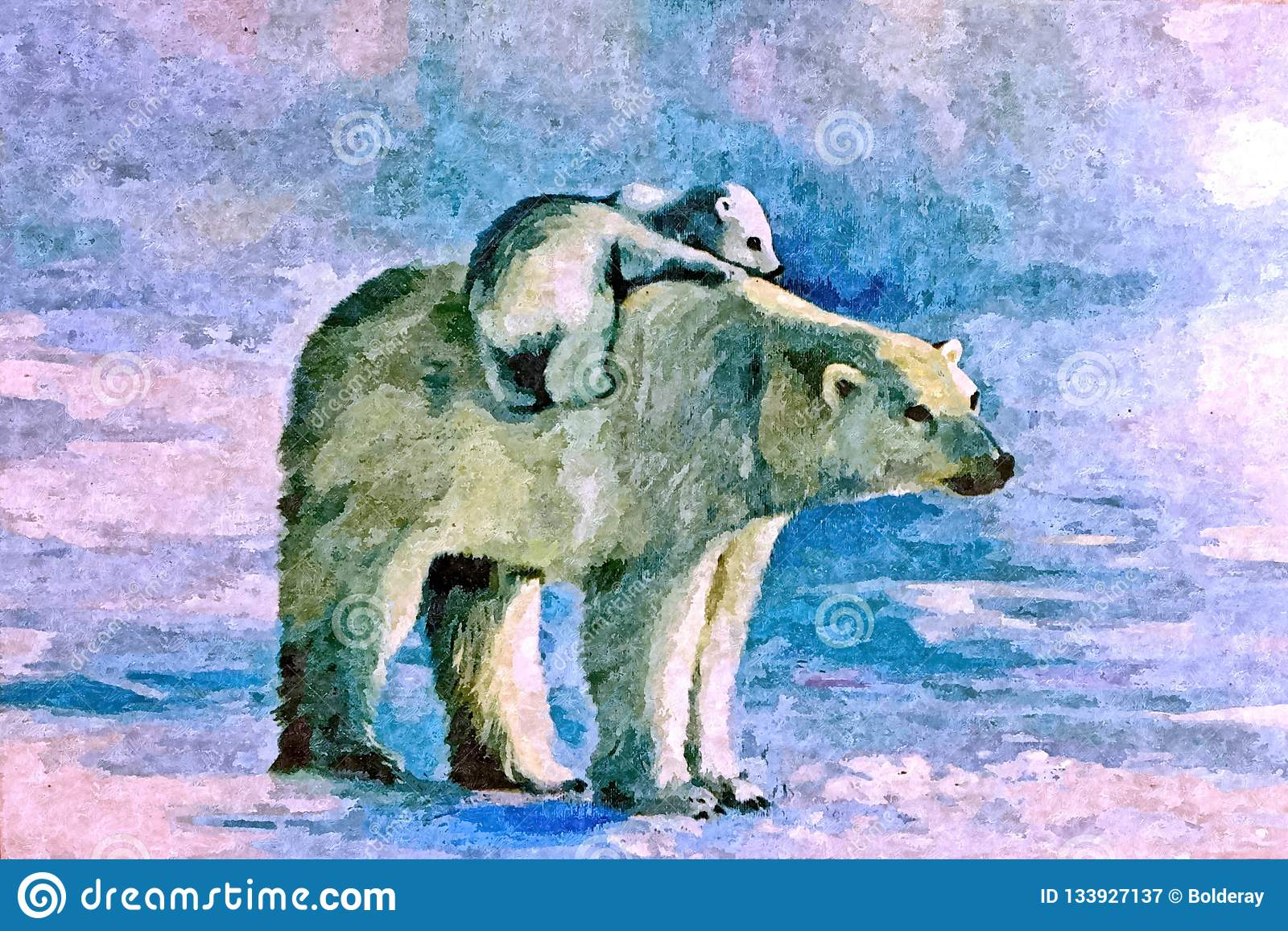 Witte zij-beer met welp op het ijs Tekeningswaterverf op papier Naïef art Het schilderen van waterverf op papier