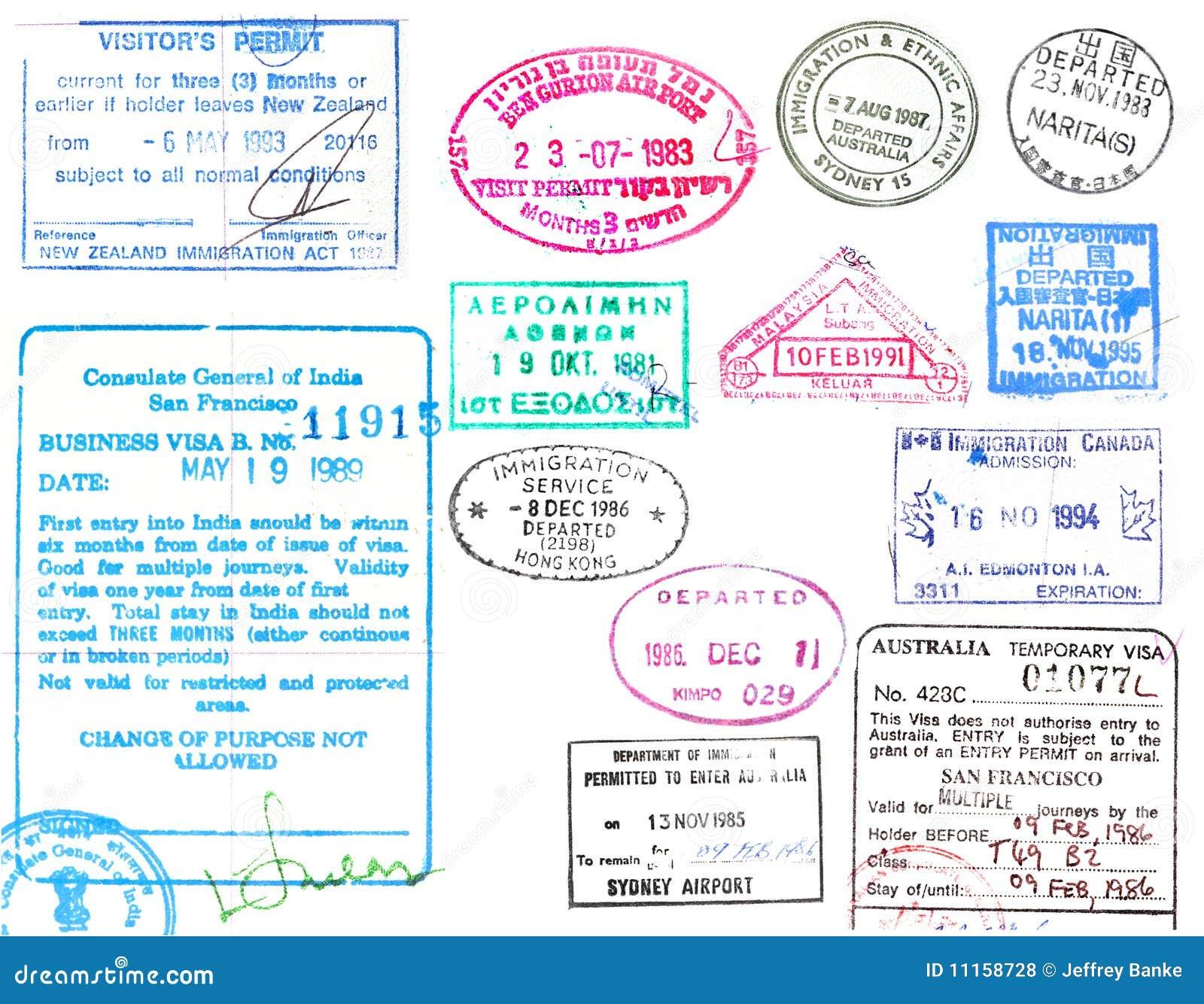 Wiza i paszporta znaczki