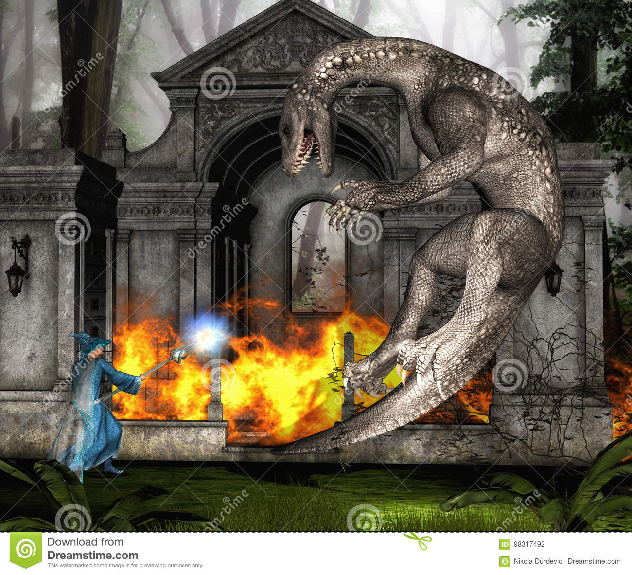 wizard and dragon in battle ii stock illustration illustration of