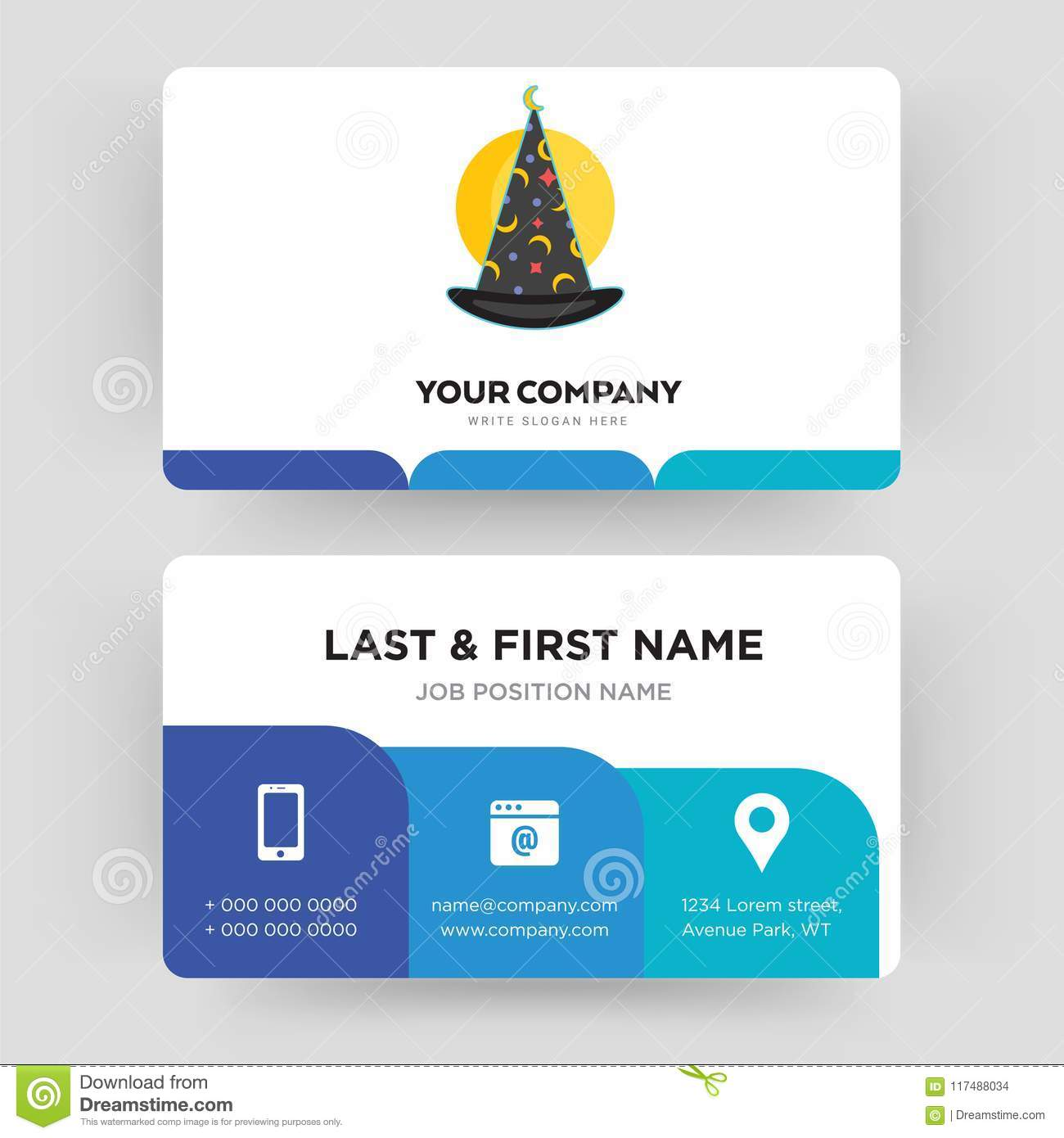 wizard hat business card design template visiting for your company