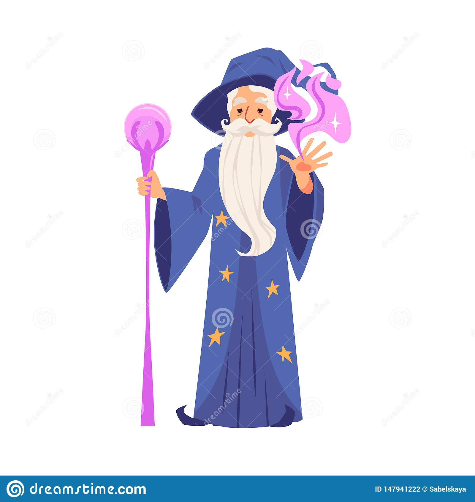 Wizard or magician creates magic flat vector illustration isolated on white.