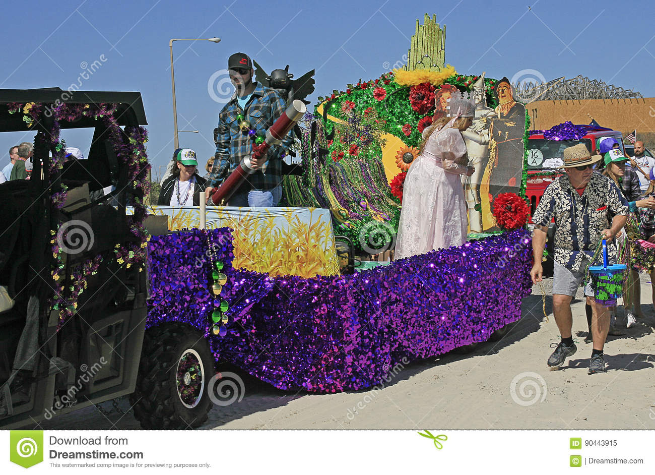 wizard of oz float at the barefoot mardi gras parade editorial image