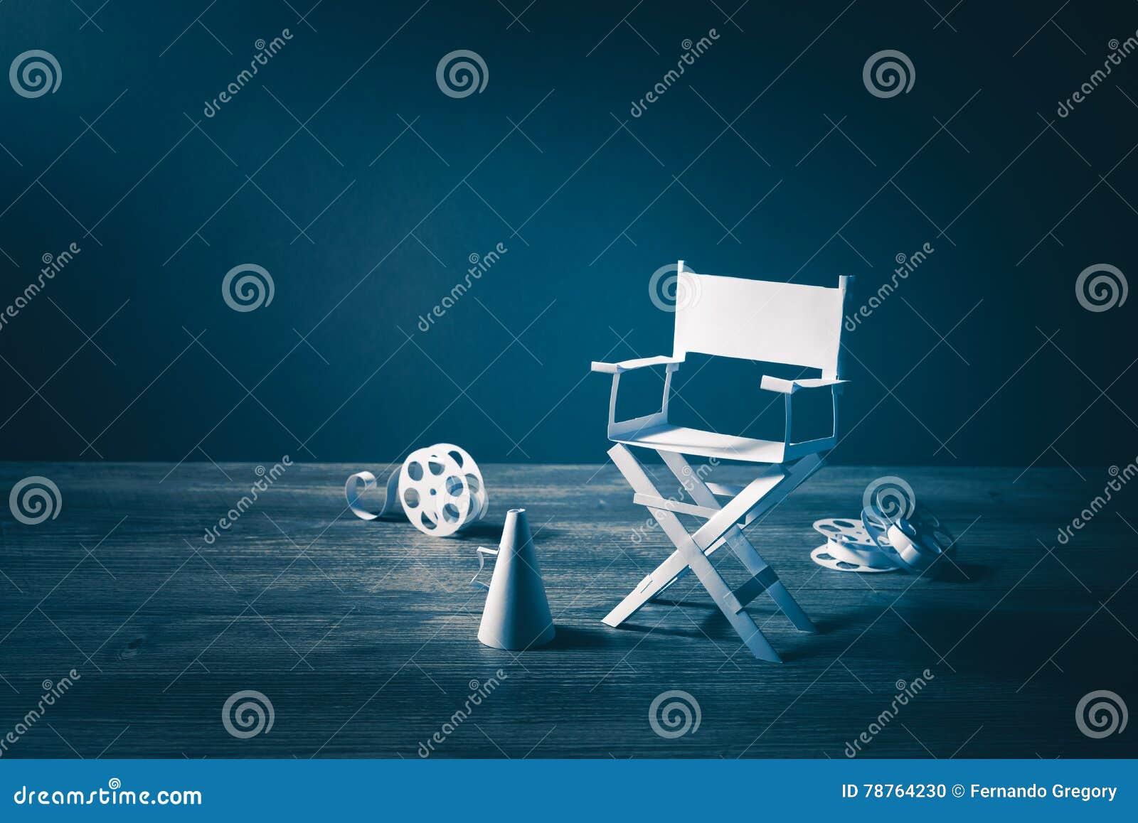 Wizerunek z rocznik teksturą dyrektora krzesła, filmu rzeczy i