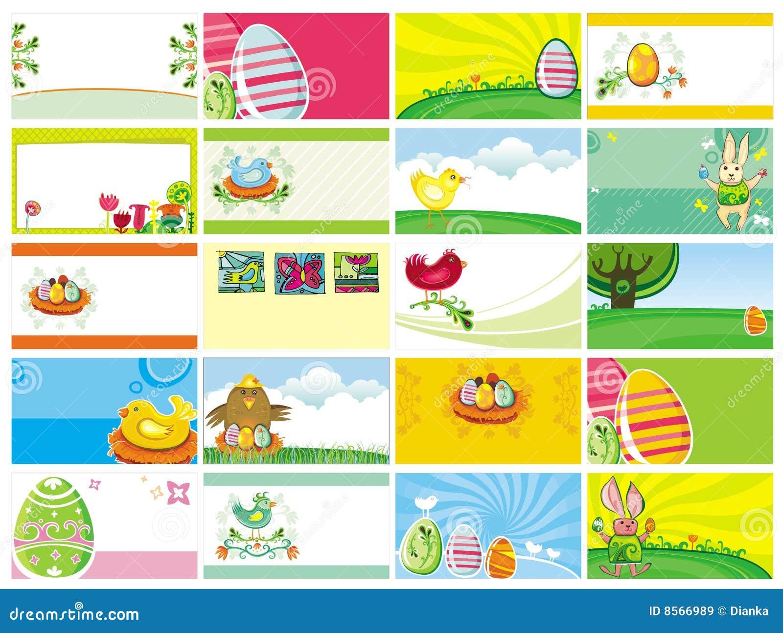 Wizytówek Easter szablony