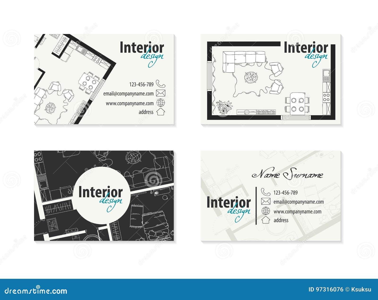 Wizytówka Dla Projektant Wnętrz Decorator Ilustracja Wektor