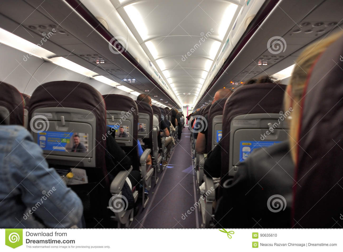 Wizzair Airplanes Interior View Editorial Image Image Of Seat Journey 90635610