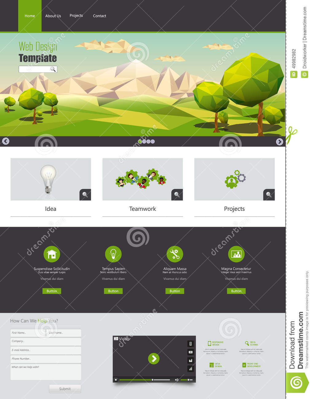 WModern Eco Website Template With Flat Eco Landscape Illustration ...