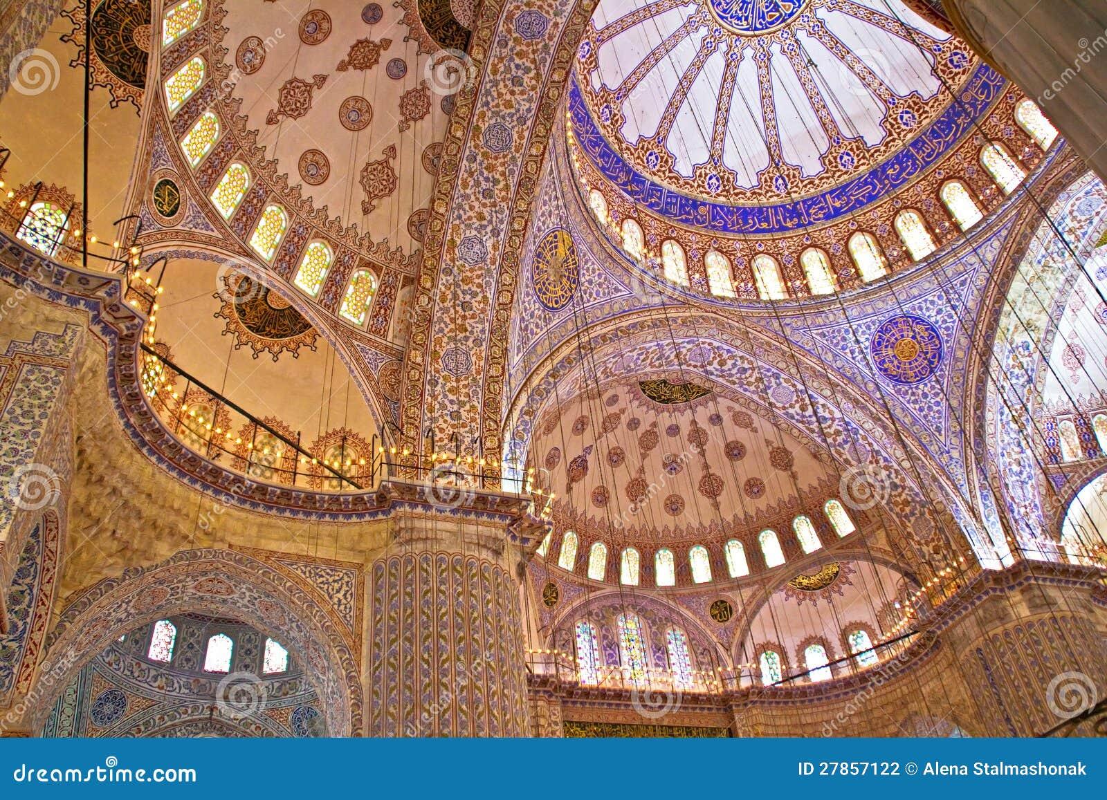 Wnętrze Błękitny Meczet, Istanbuł, Turcja