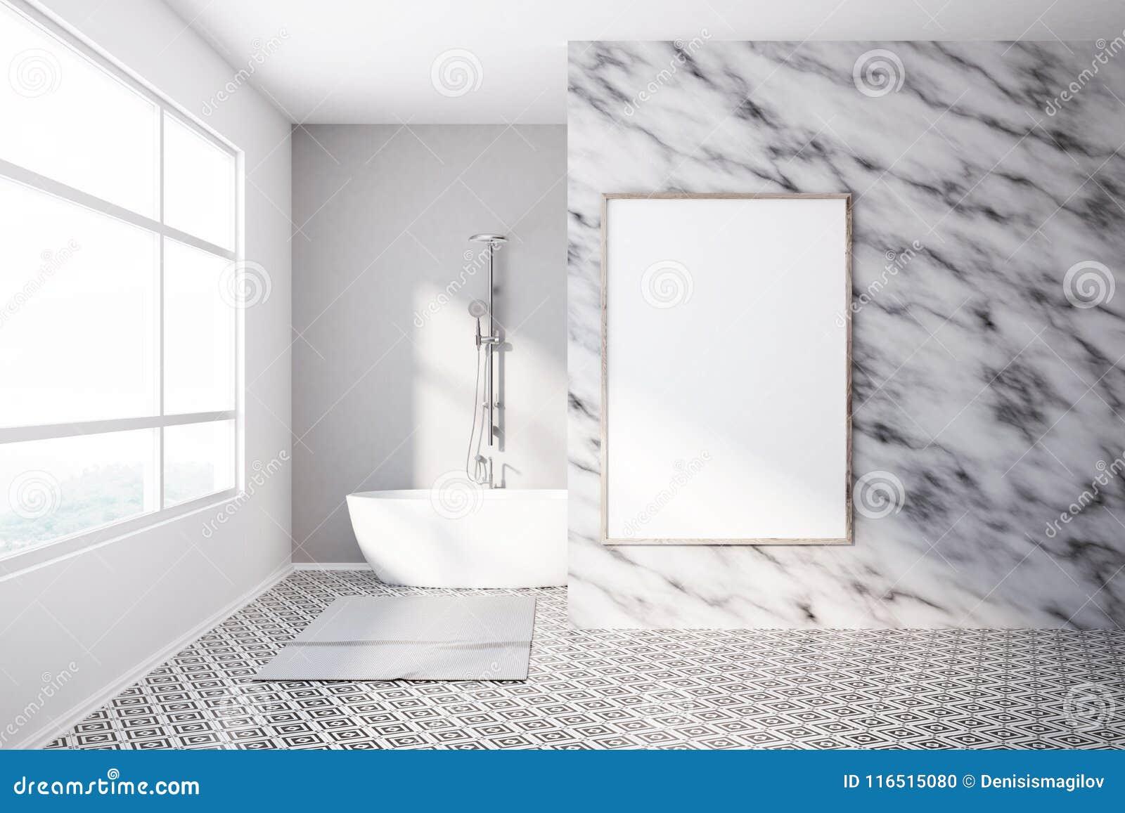 Wnętrze Luksusowe łazienka Marmuru ściany Plakat Ilustracji