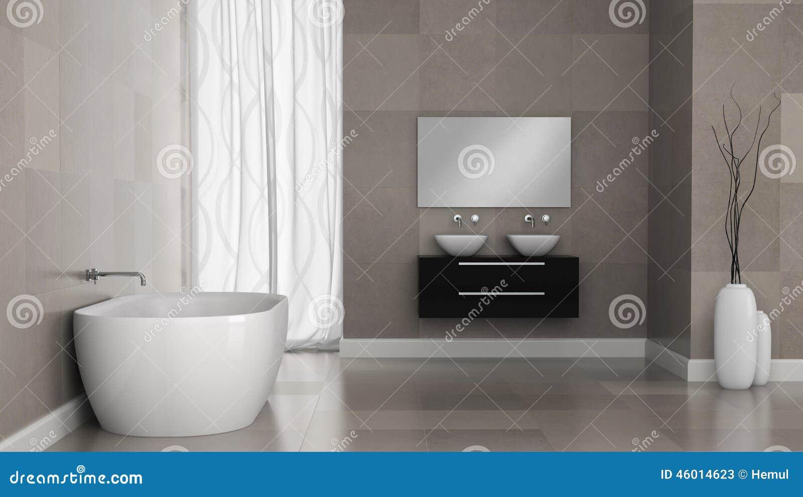 Wnętrze nowożytna łazienka z granit płytki ścianami