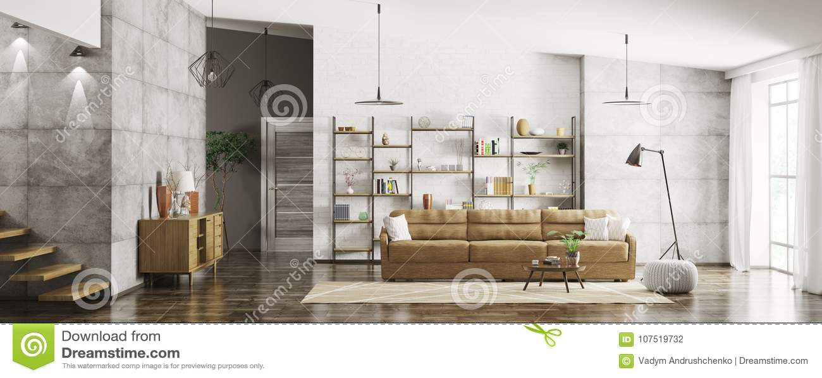 Wnętrze nowożytny mieszkanie panoramy 3d rendering