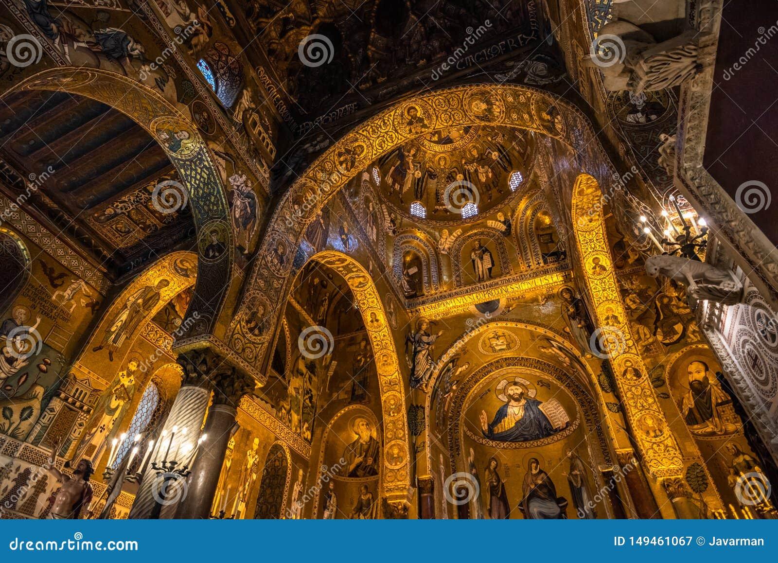 Wn?trze palatyn kaplica Palermo, Sicily, W?ochy