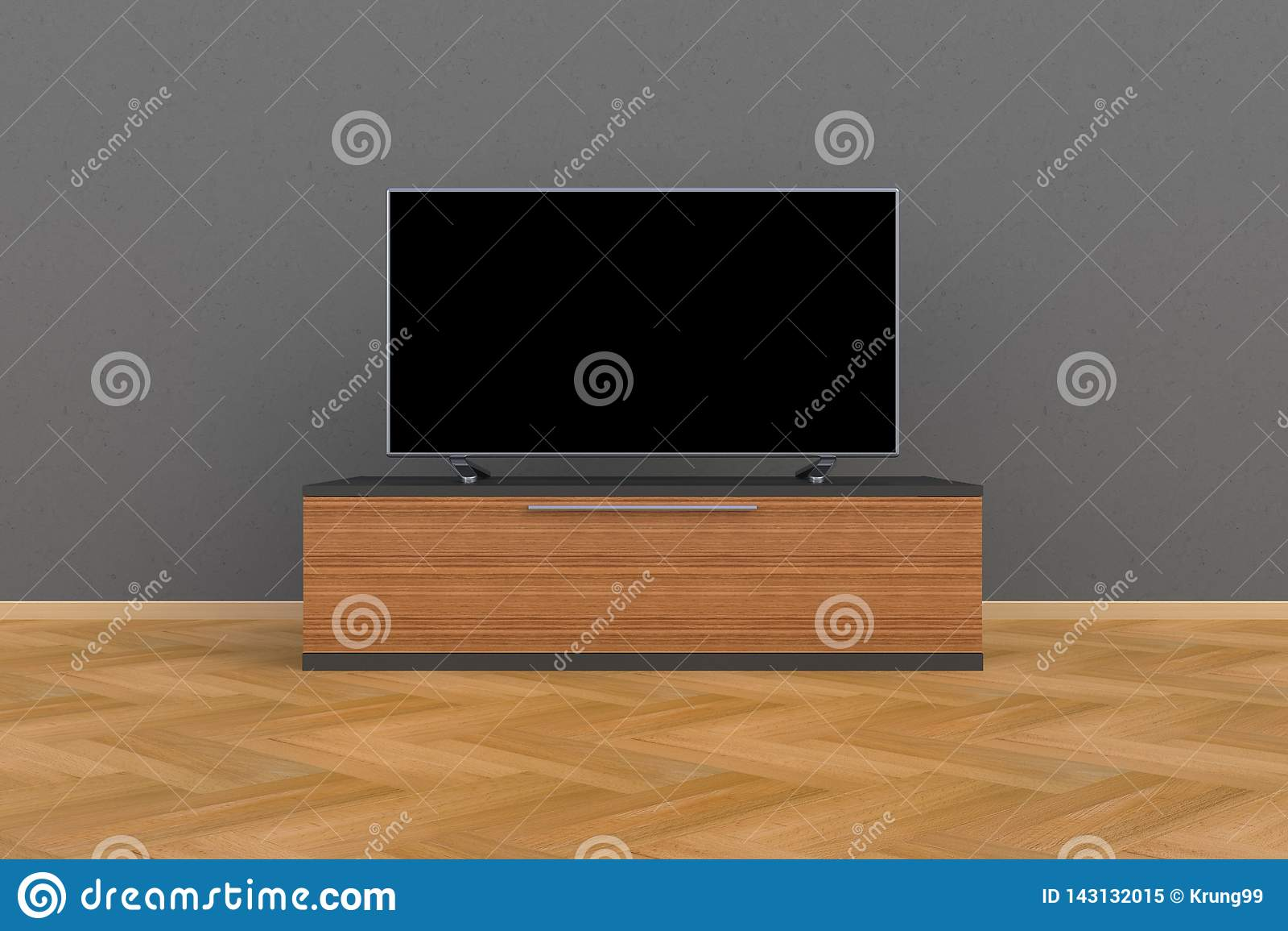 Wnętrze pusty pokój z TV, Żywy pokój prowadził tv na szarości ścianie z drewnianym stołowym nowożytnym loft stylem