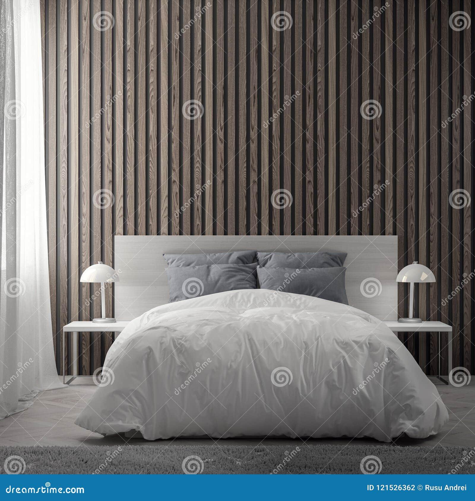 Wnętrze sypialnia z drewnianą deski ścianą, 3D rendering