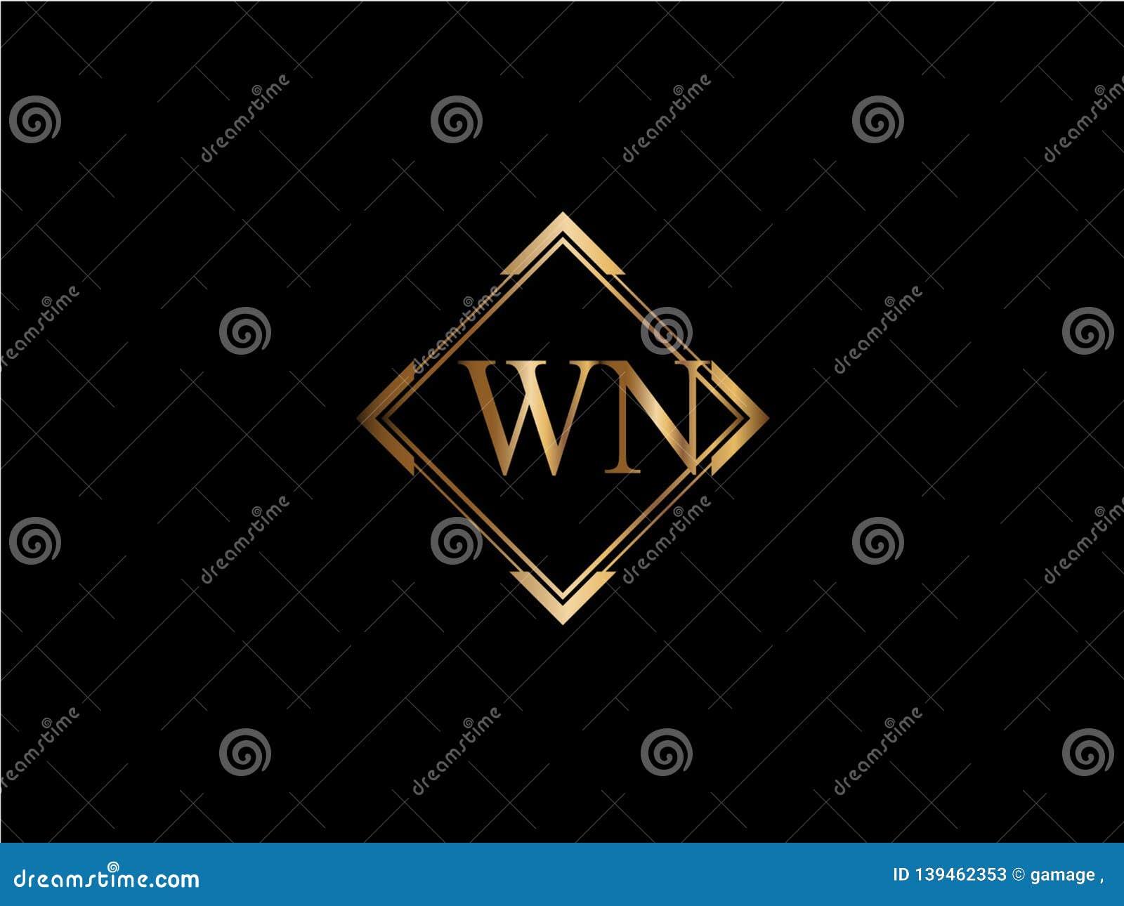 WN-Anfangsdiamantform Goldfarbe neuerer Logo Design