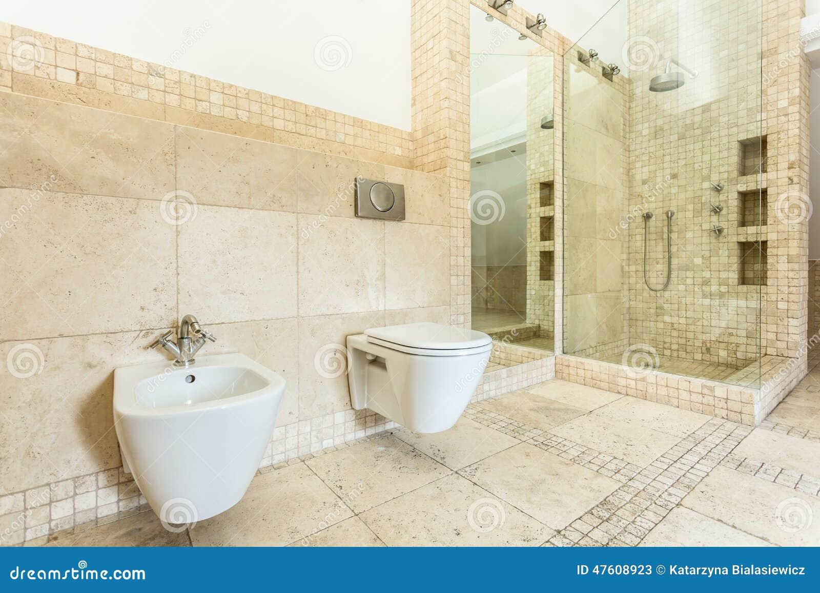 Wnętrze Beżowa łazienka Zdjęcie Stock - Obraz: 47608923