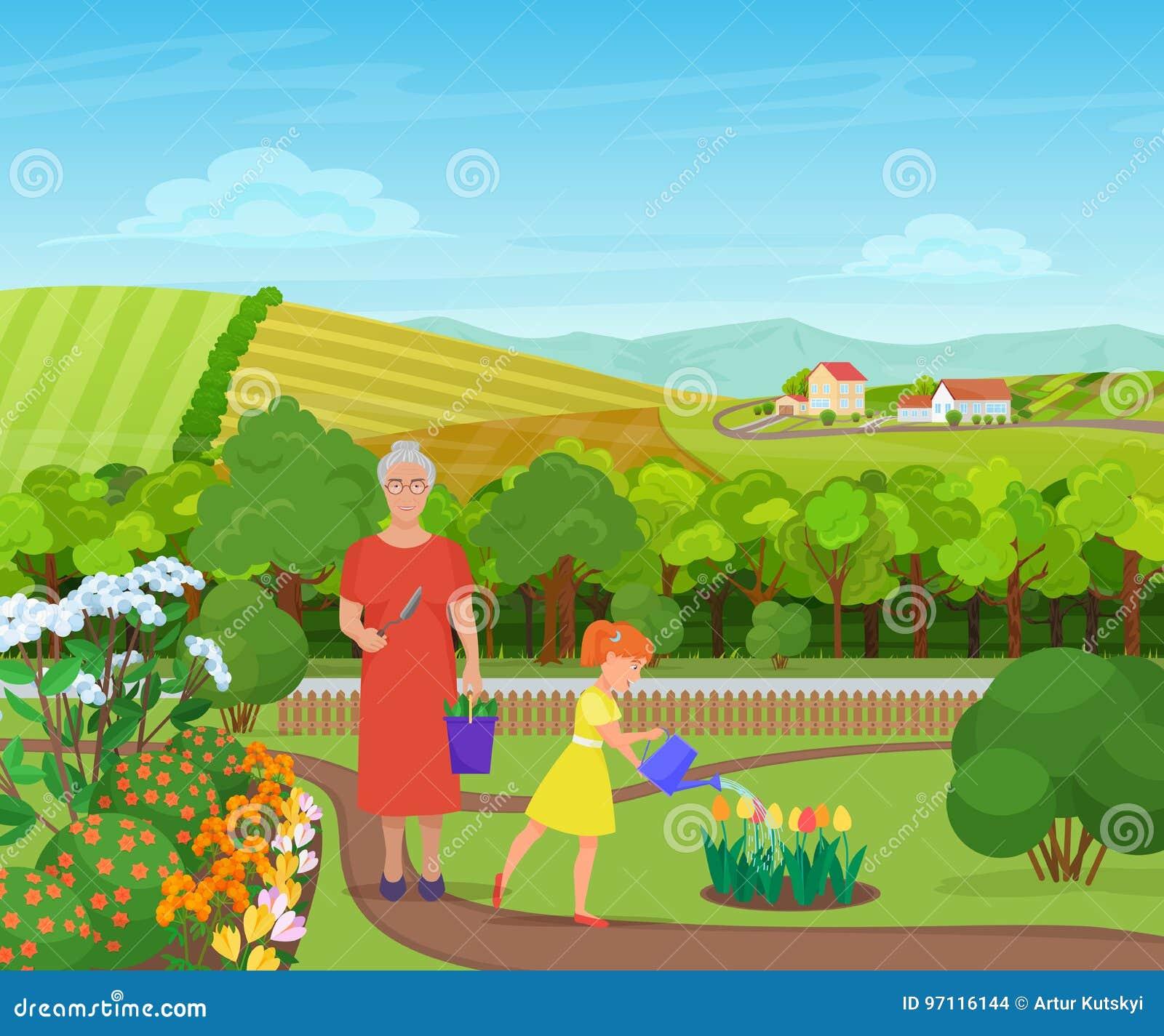 Wnuczki podlewanie i brać opieka kwiaty z babcią w pięknej wiosce w górach