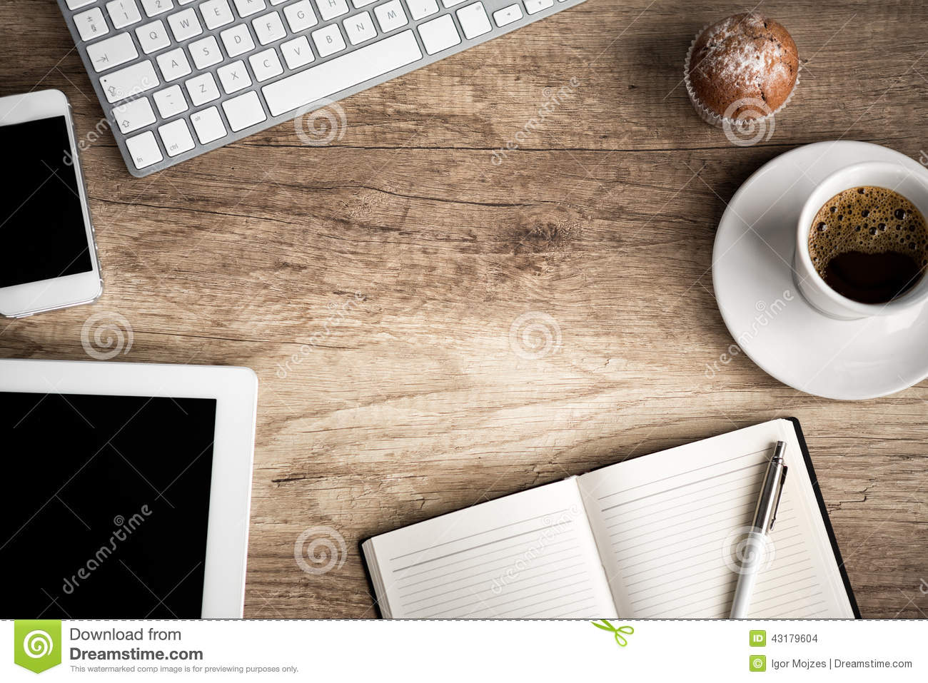 Download Wo0den  Table With Office  Supplies Stock Photo - Image of copy, desk: 43179604