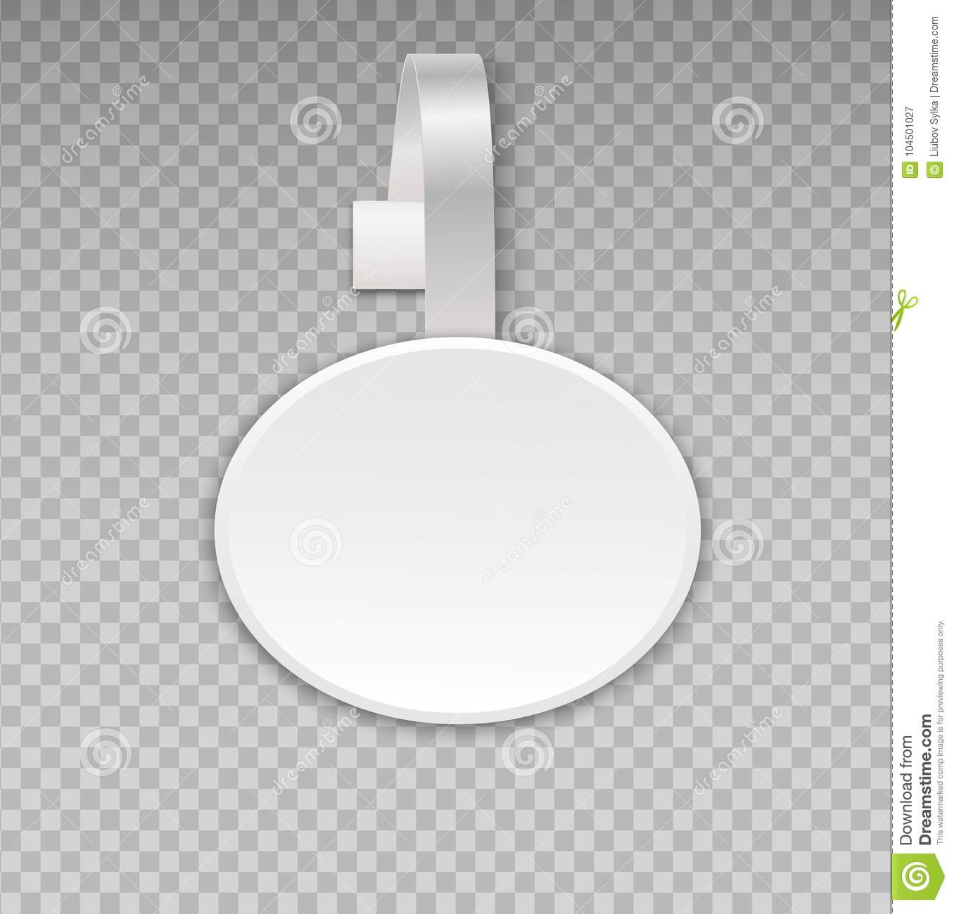 Wobbler mockup with transparent background. Vector blank white round shape paper plastic advertising shop price or sales point tag