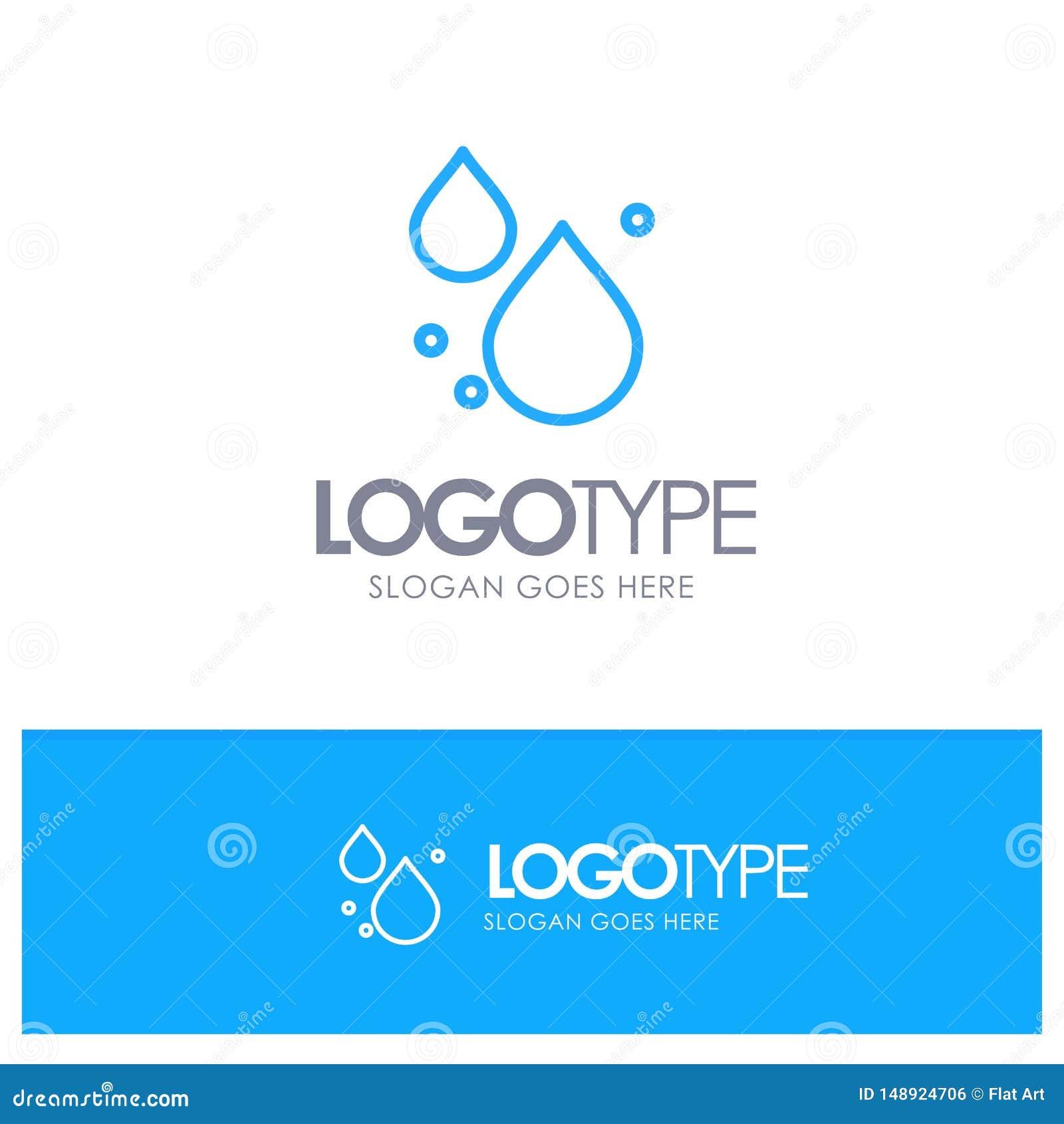 Woda, kropla, Skacze Błękitny konturu logo z miejscem dla tagline