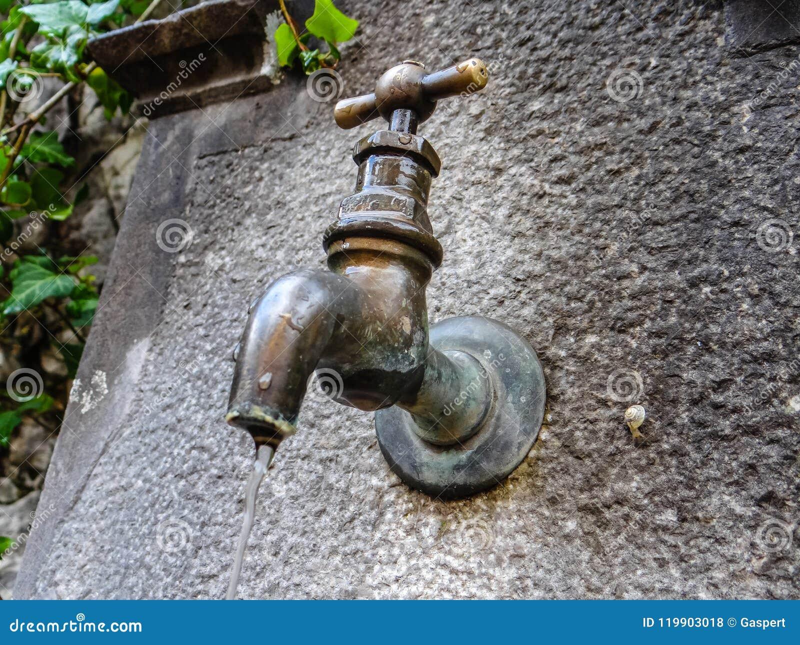 Wodna drymba na starym kamienia well
