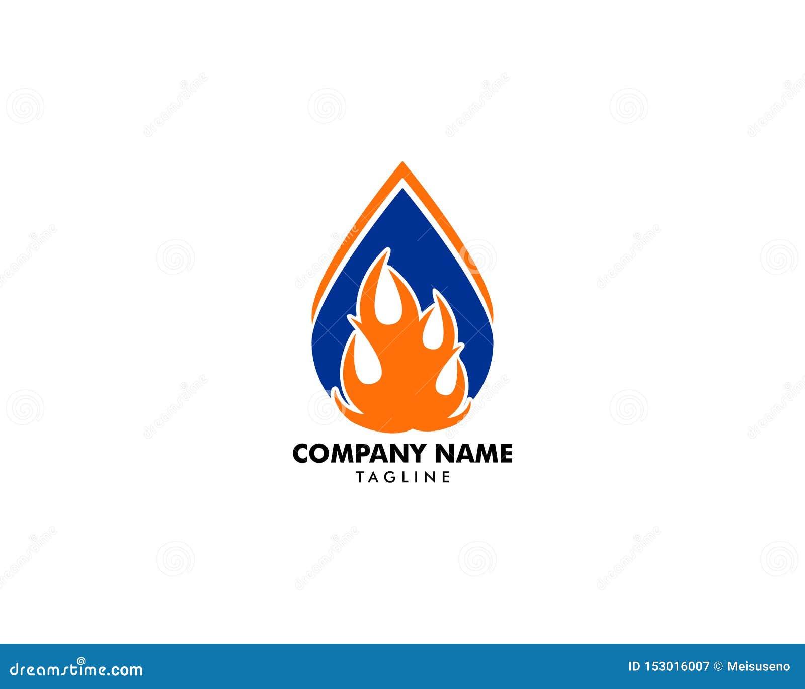 Wodna kropla ogienia logo projekta szablonu ikona
