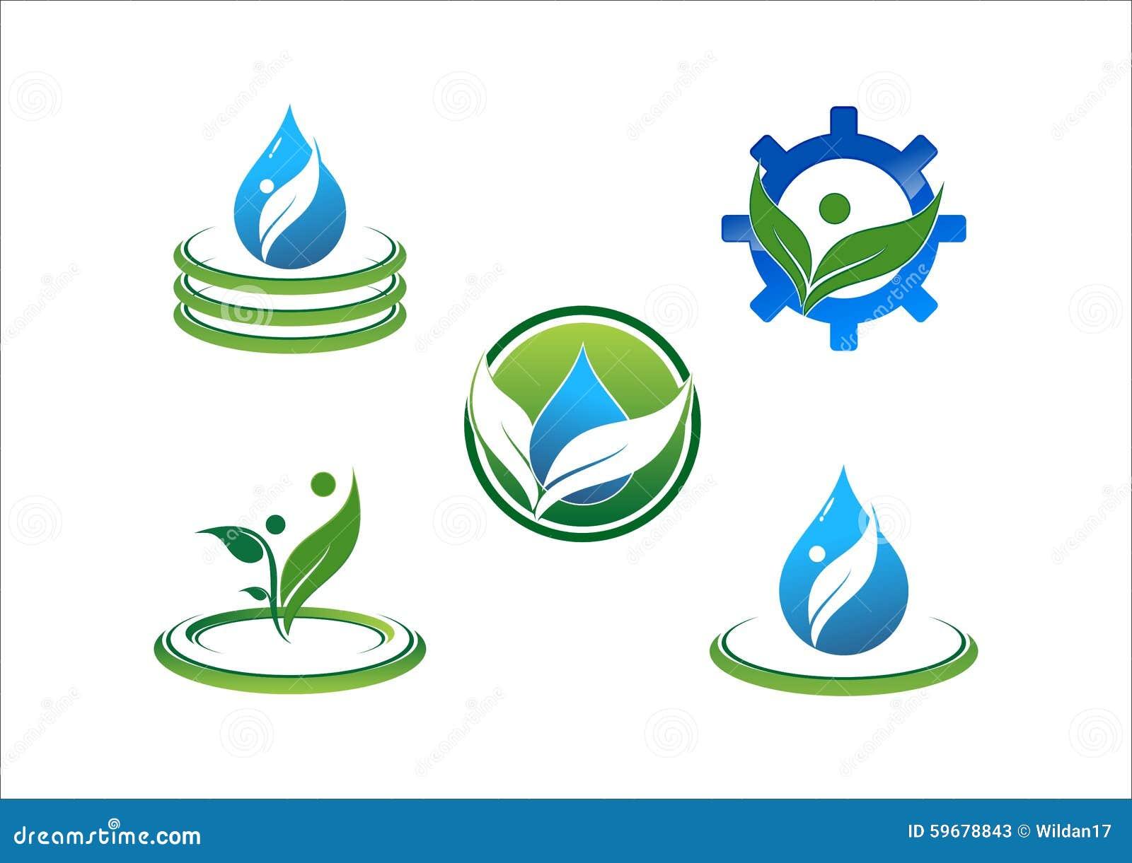 Wodna kropla, wodna ekologia, liść, okrąg, związek, ludzie, symbol, przekładnia wektoru logo