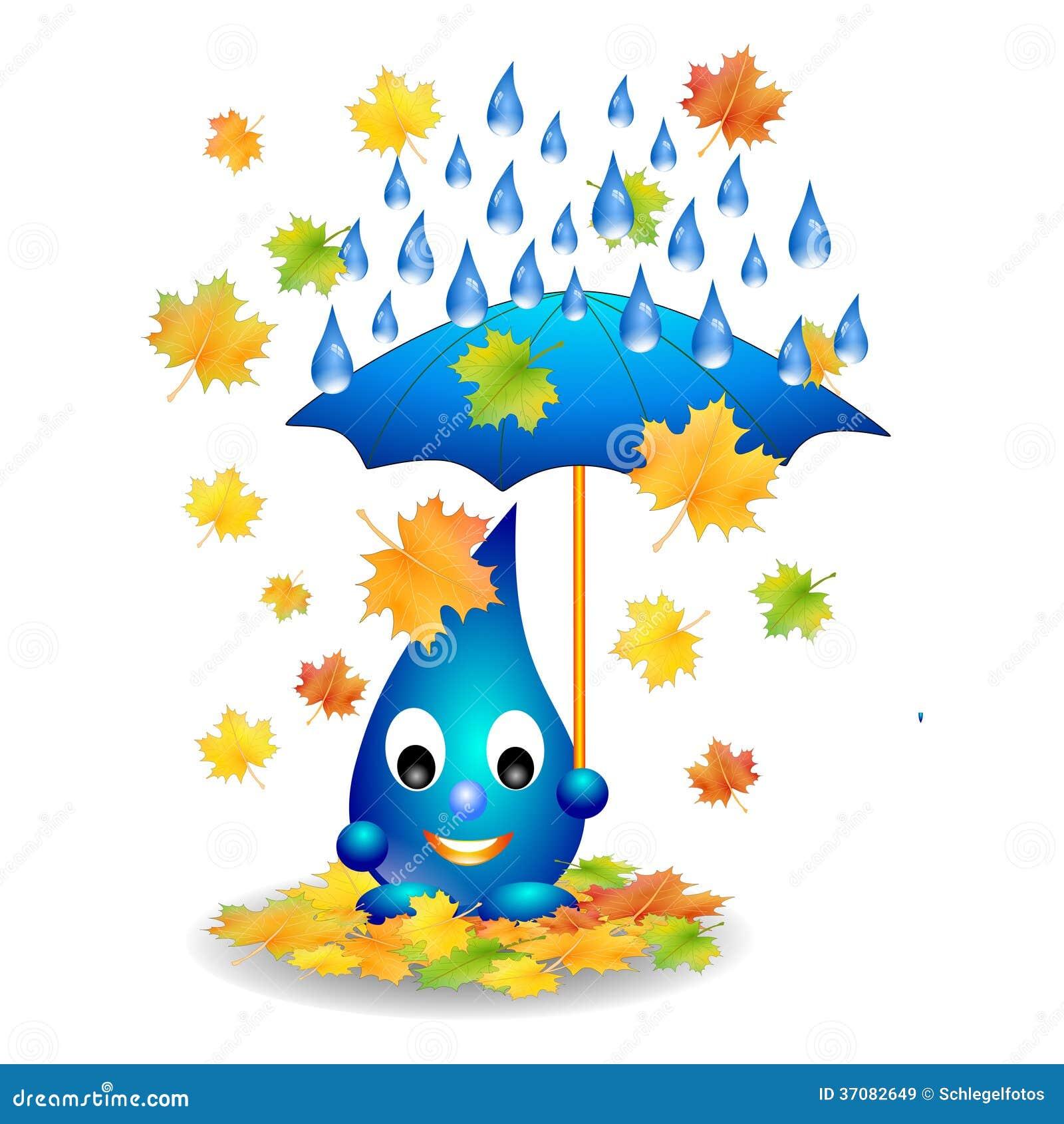 Download Wodna Kropla Z Parasolem Odizolowywającym Ilustracji - Ilustracja złożonej z szczęśliwy, środowisko: 37082649