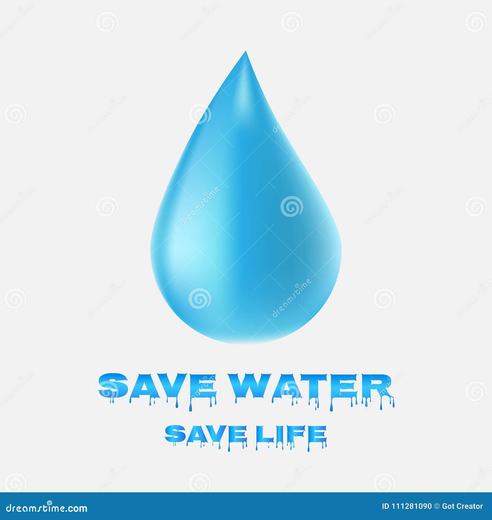 Wodna opadowa ikona Save wody Save życie