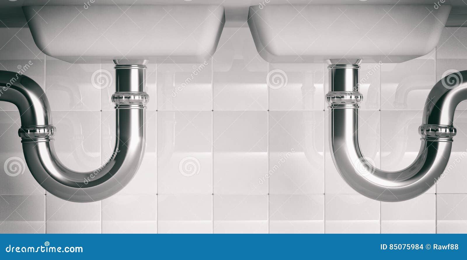 Wodne drymby pod dwoistym zlew 3d illustartion