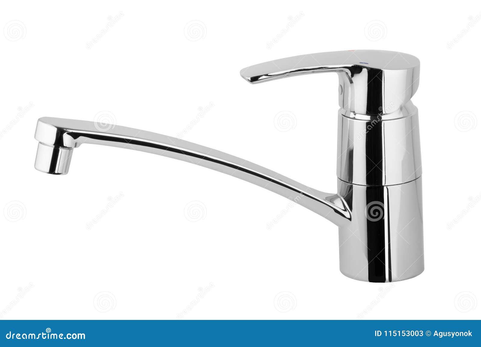 Wodny klepnięcie, faucet dla łazienki, kuchenna melanżeru zimna gorąca woda Chrom matrycujący metal pojedynczy białe tło Góra