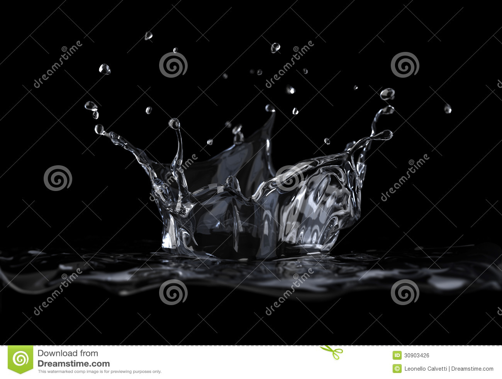 Wodny korony pluśnięcie przeglądać od strony na czarnym tle.