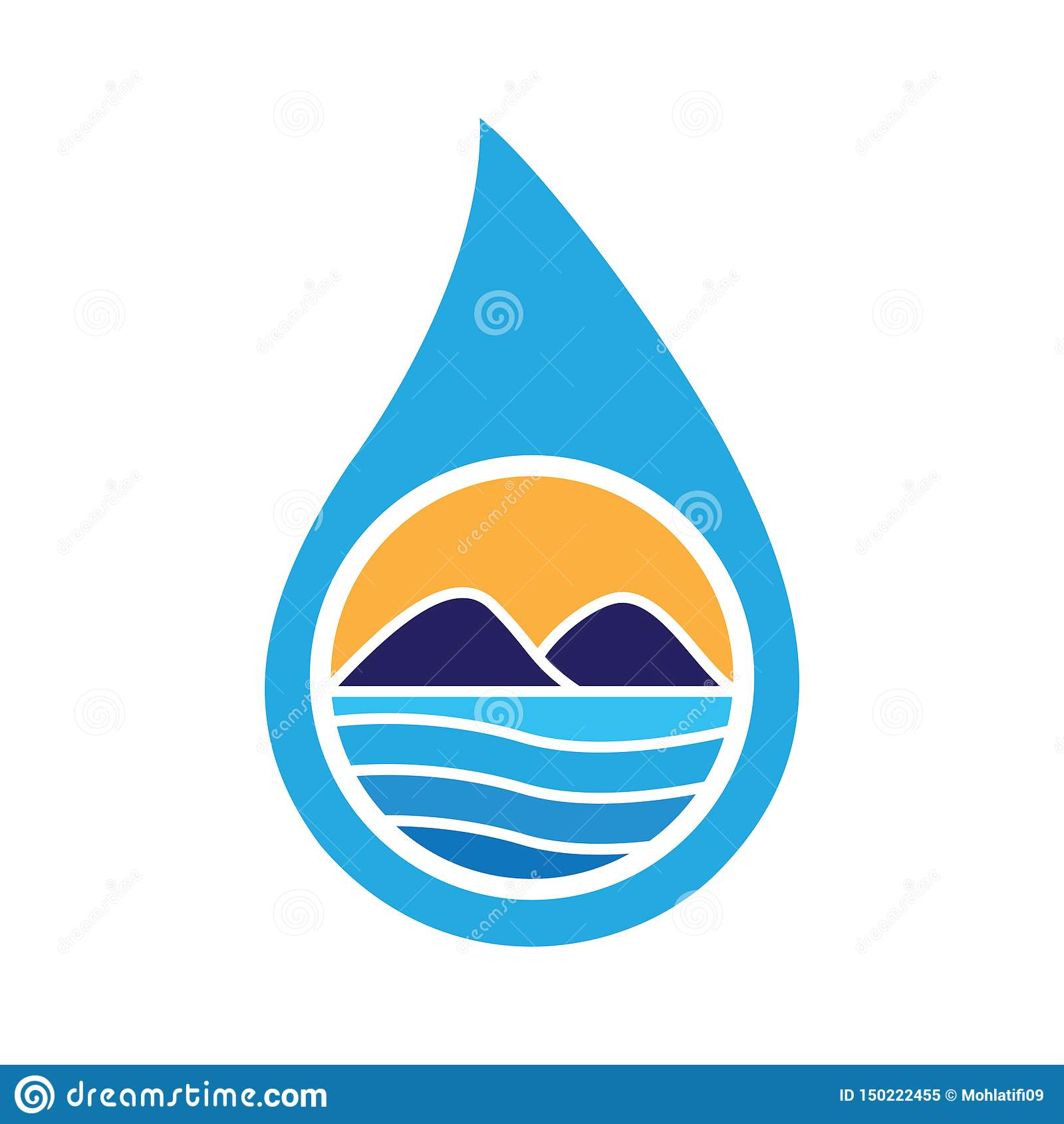 Wodny Opadowy Kształtuje teren logo wektor