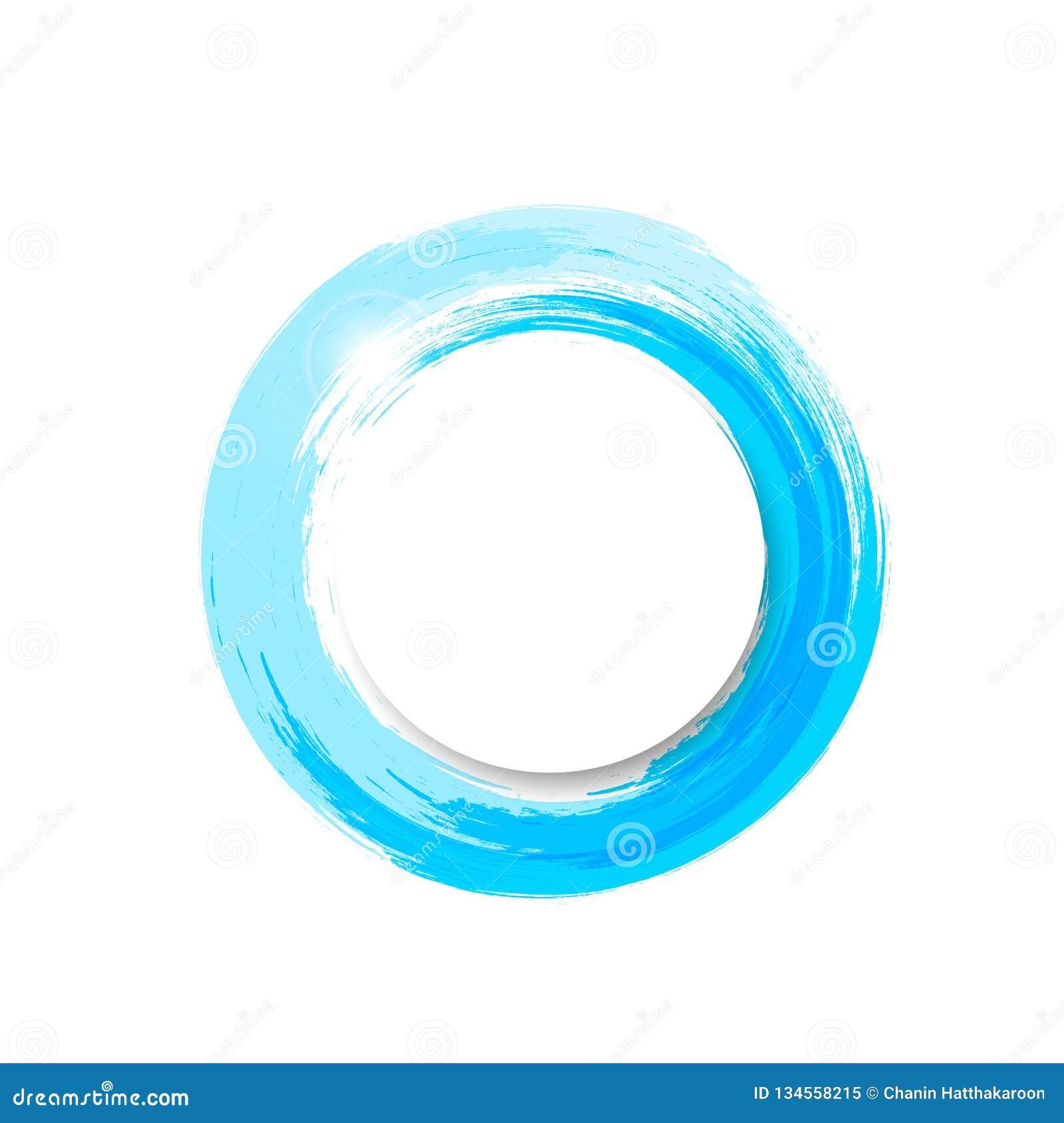 Wodny pluśnięcie sztandaru logo, akwarela błękitnego atramentu okręgu pierścionku ramy wektoru ilustracja
