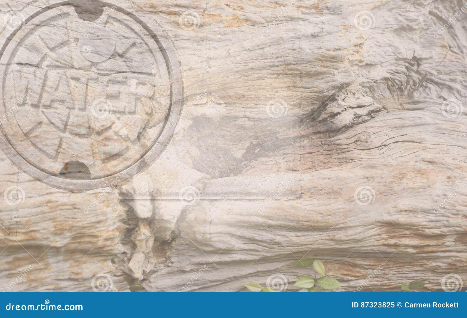 ` ` Wodny tło z drewno adrą