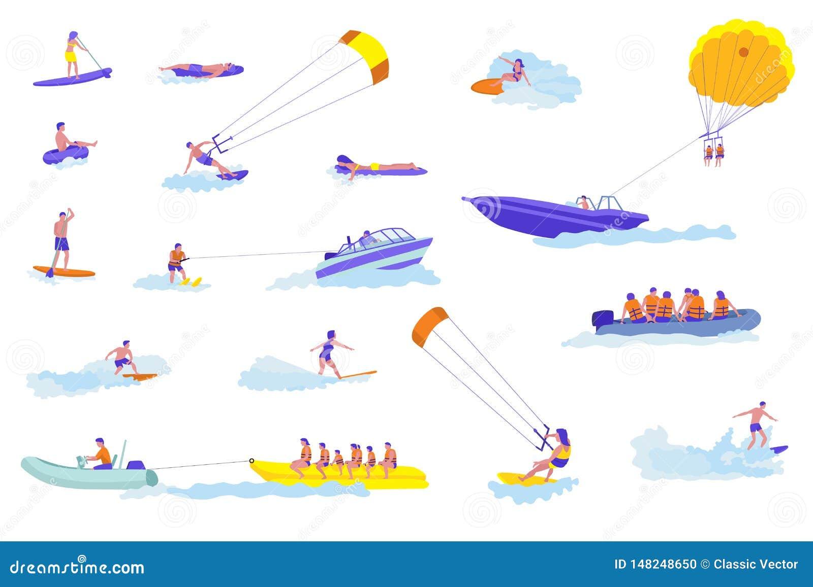 Wodnych sportów kreskówki wektorowe ilustracje ustawiać