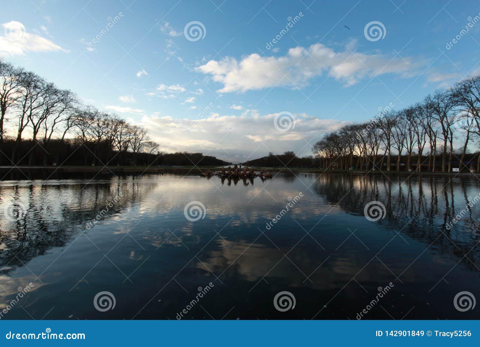 Wody w pałac Versailles, w zimie