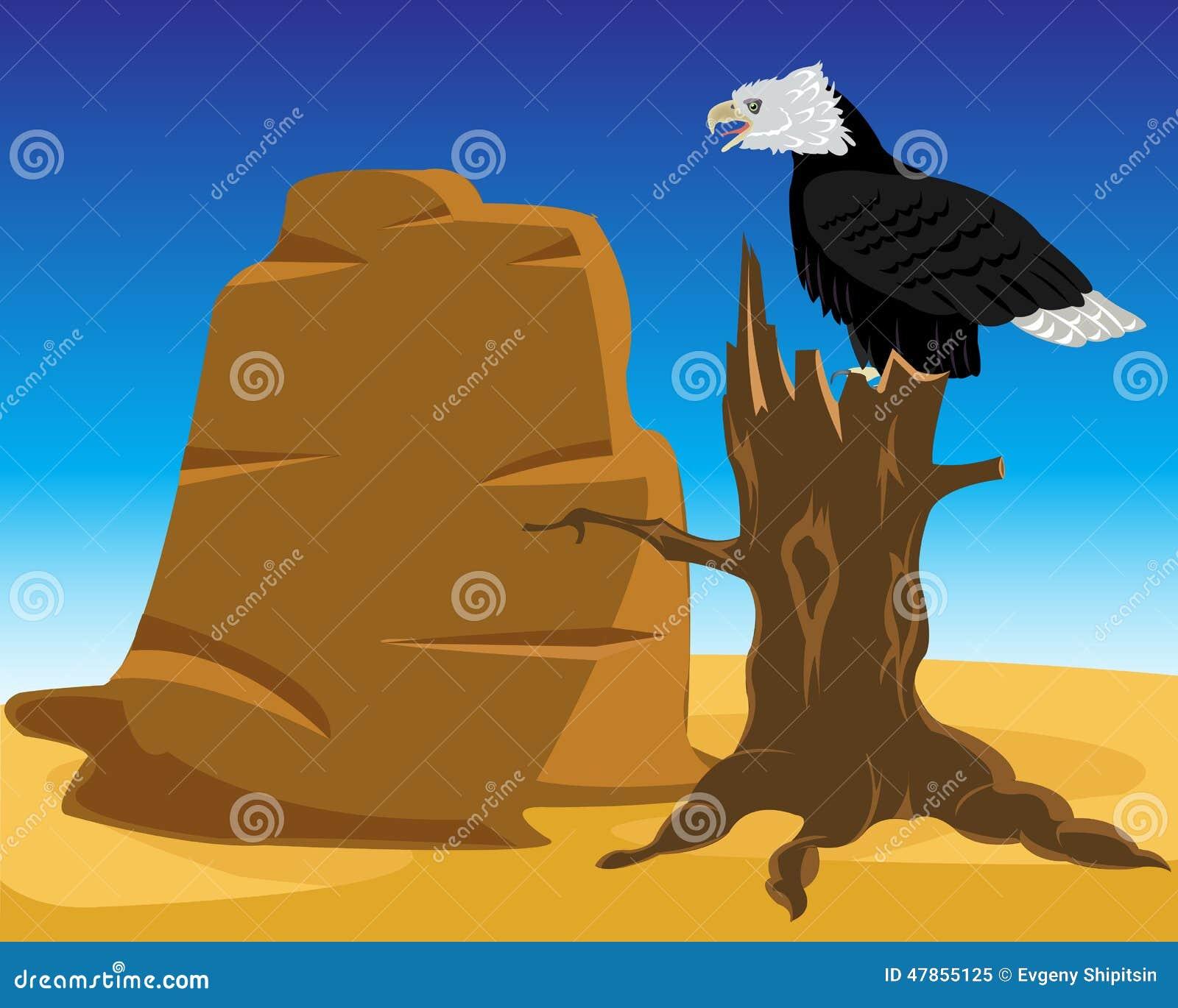 Woestijn en adelaar op boom