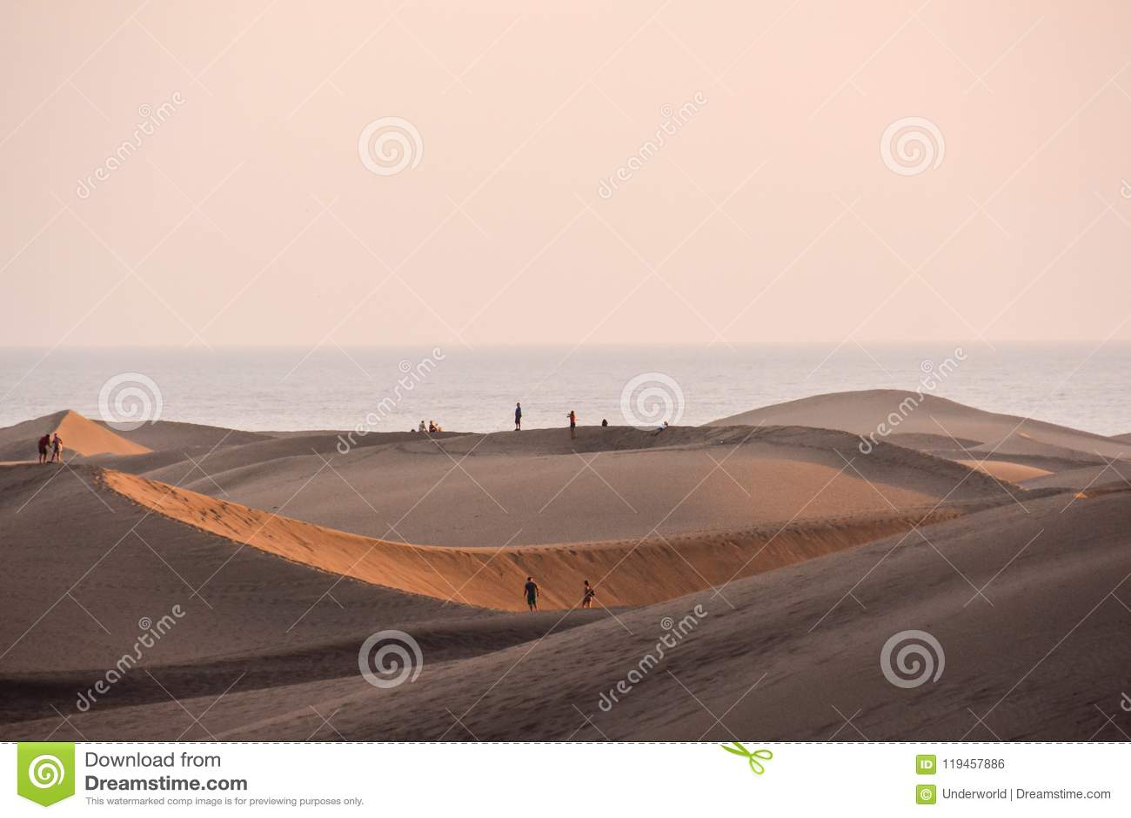 Woestijn met zandduinen in Gran Canaria Spanje