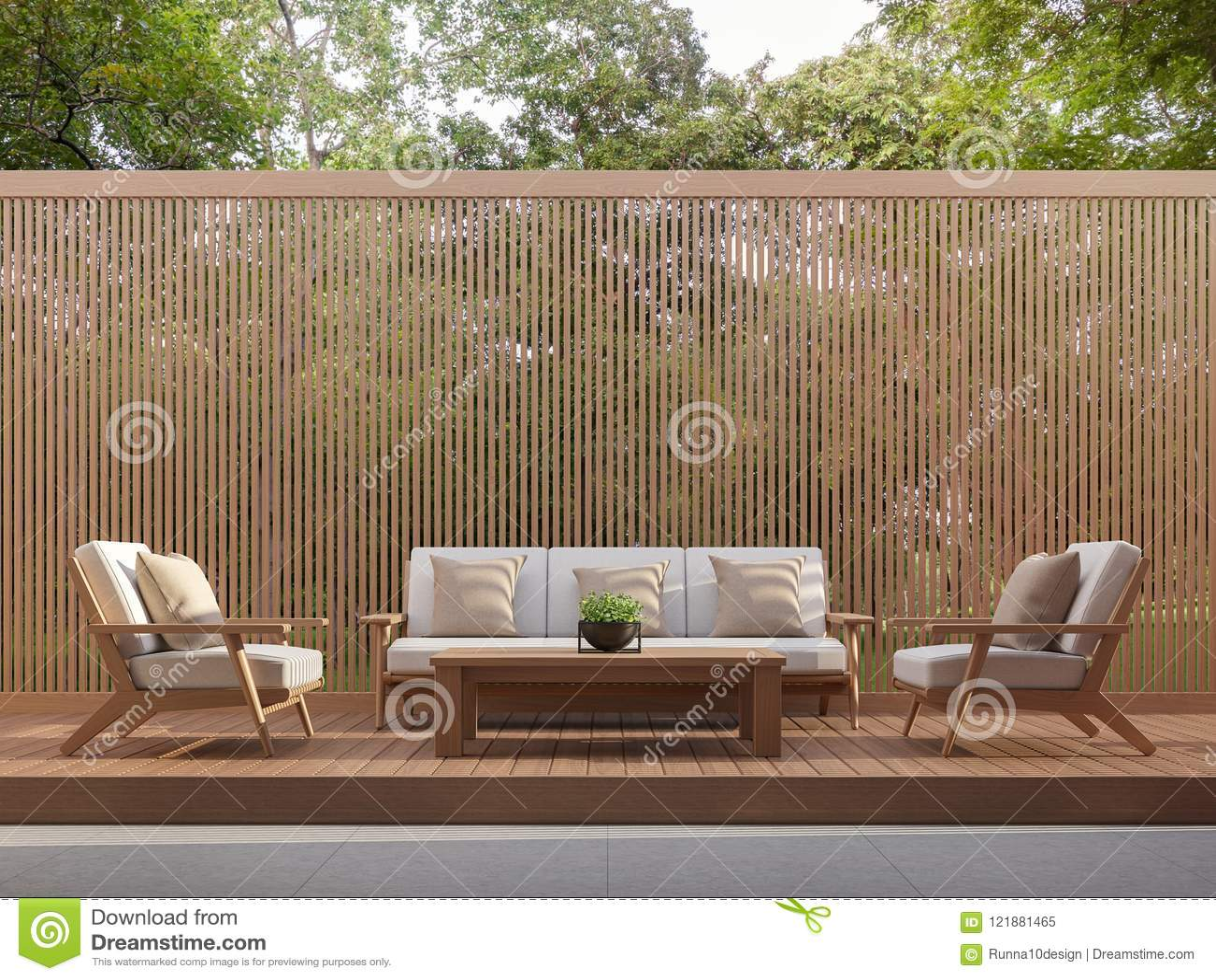 Wohnbereich im Freien mit hölzernen Latten 3d übertragen