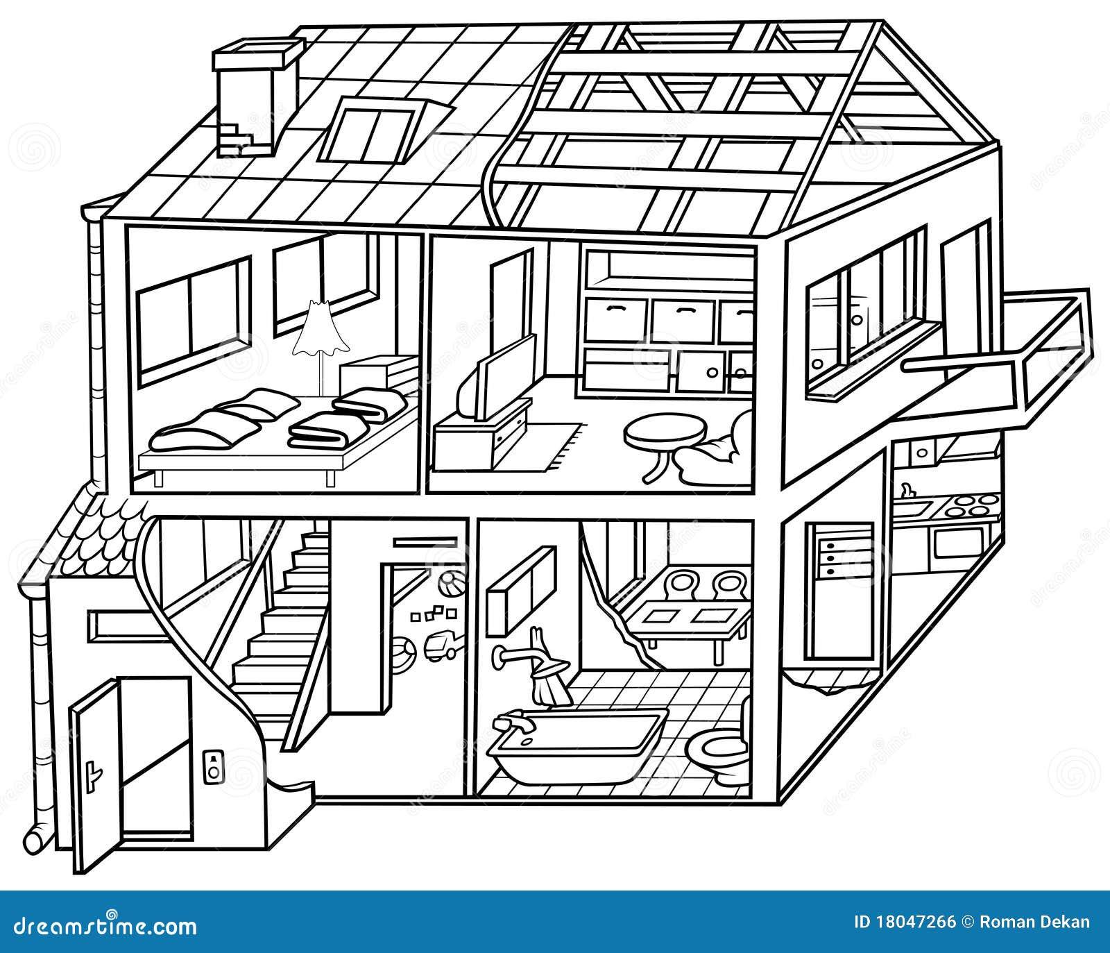 Wohnung-Haus Vektor Abbildung. Illustration Von Getrennt