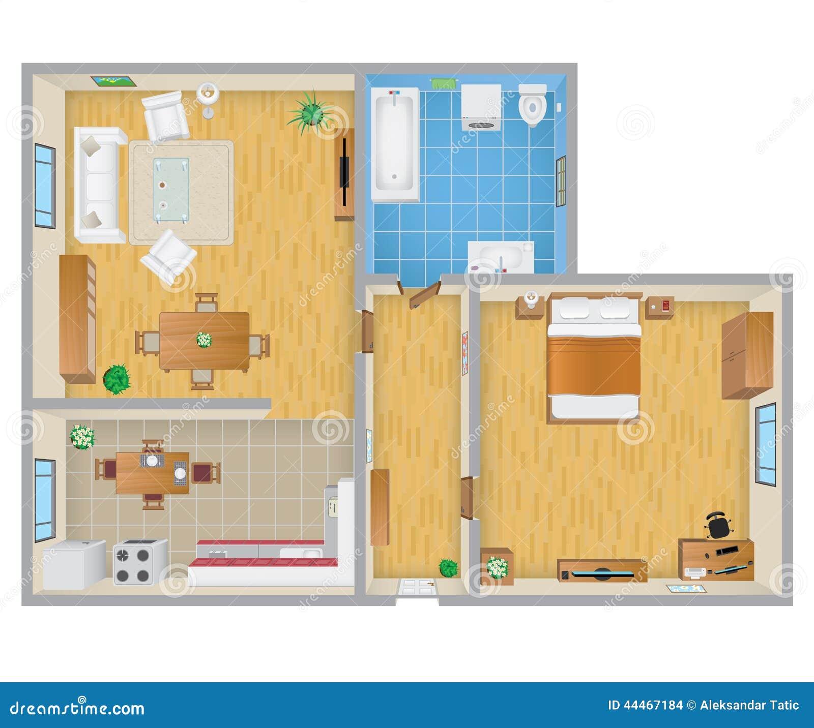 wohnungs plan vektor abbildung bild 44467184. Black Bedroom Furniture Sets. Home Design Ideas