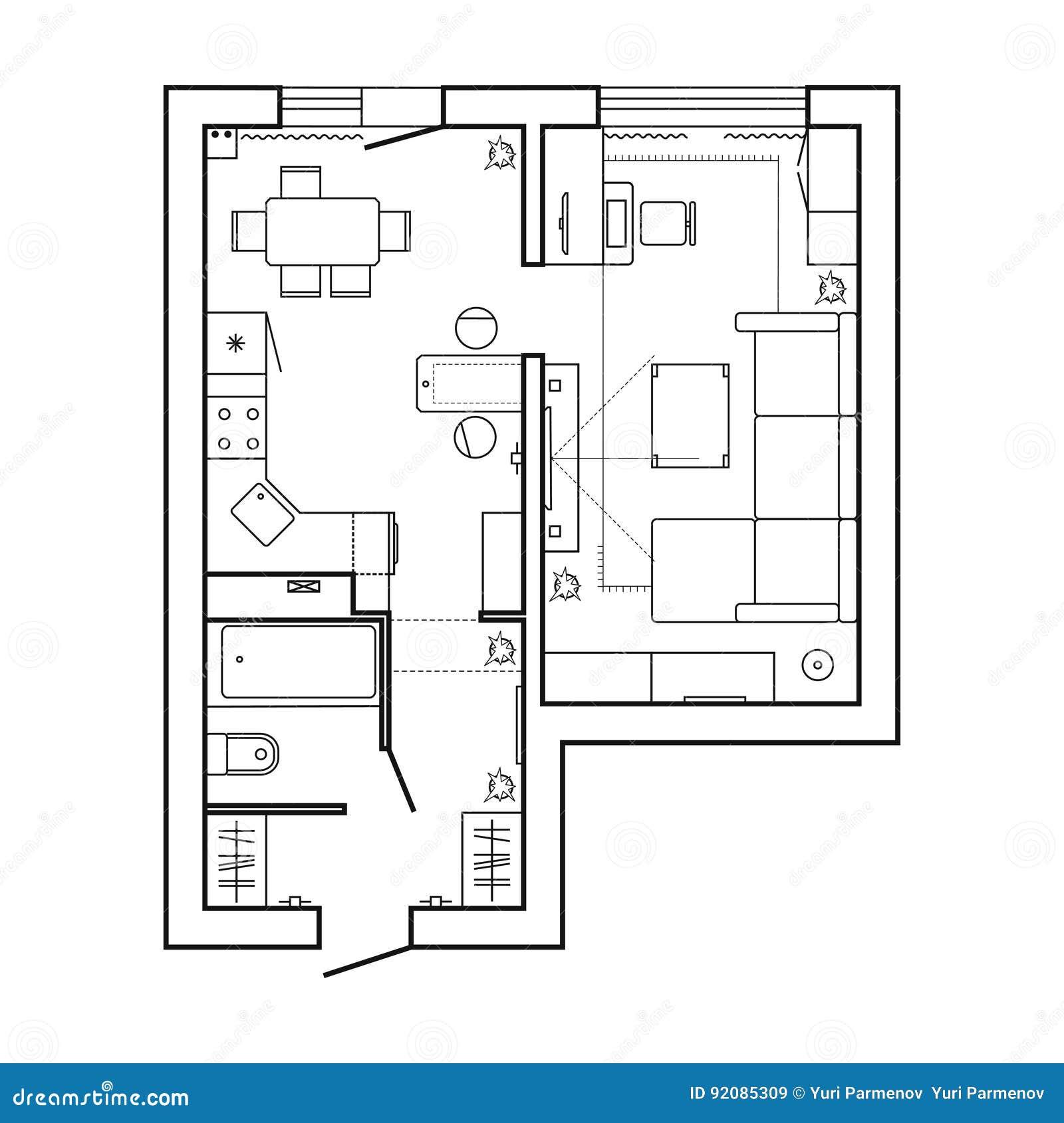 Wohnungs-Planhexe Möbel-dünne Linie Innenarchitektur-gesetzte ...
