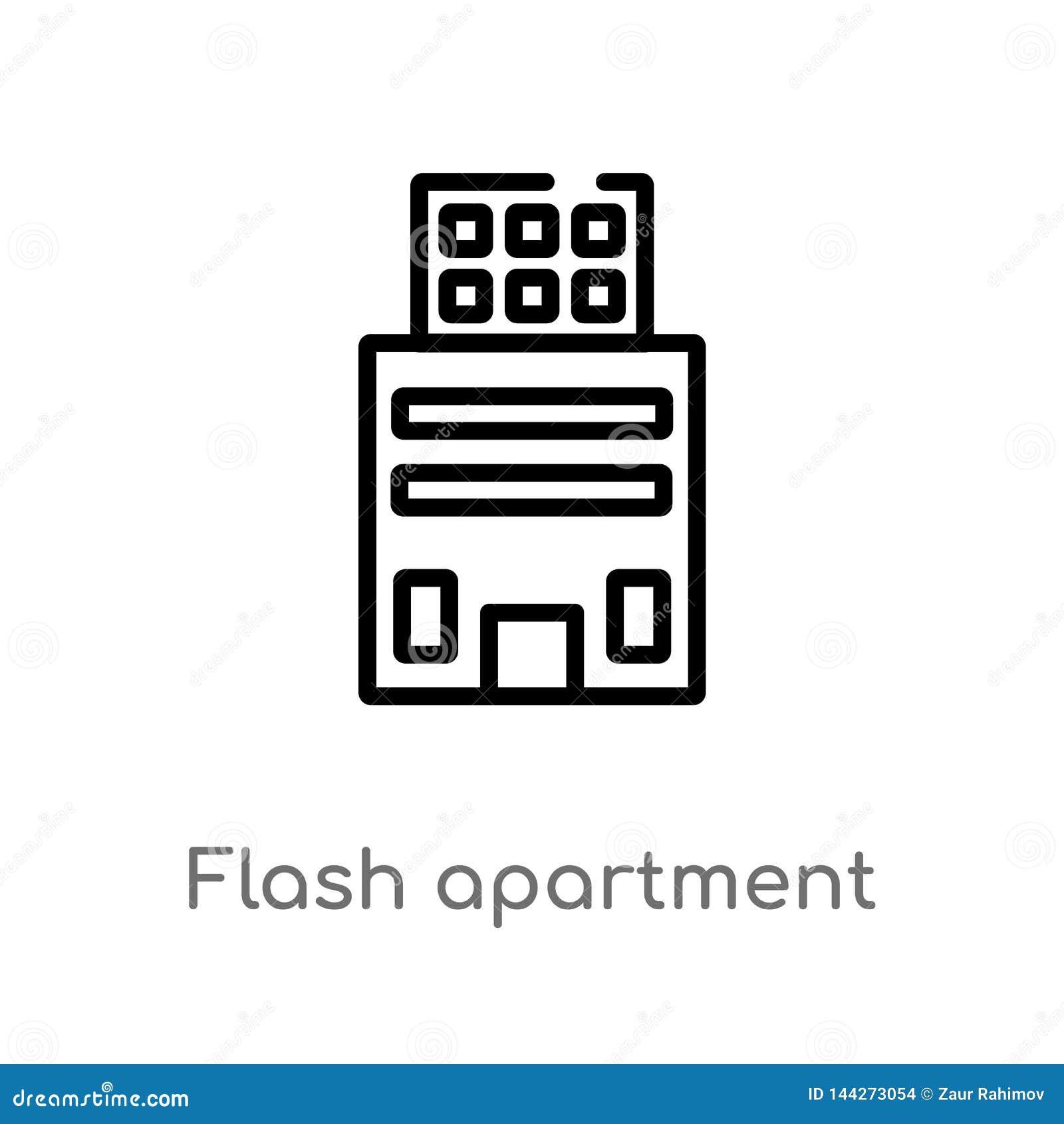 Wohnungs-Vektorikone des Entwurfs grelle lokalisiertes schwarzes einfaches Linienelementillustration vom Gebäudekonzept Editable
