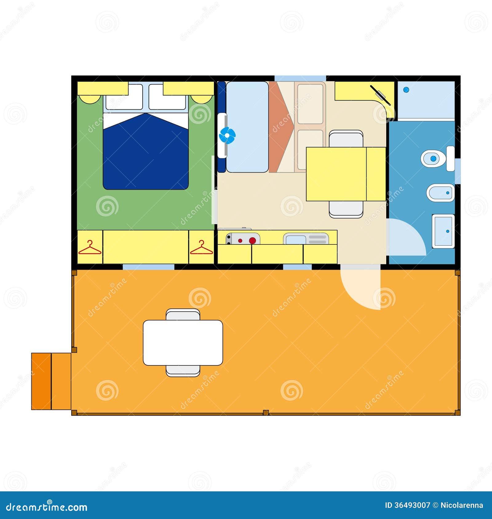 Wohnungsplan  Wohnungsplan Lizenzfreie Stockfotografie - Bild: 36493007