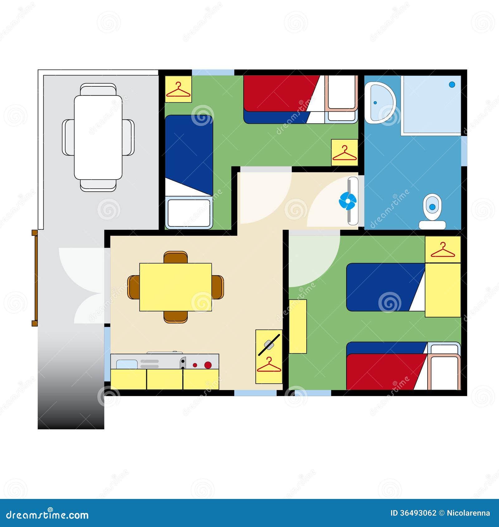 Wohnungsplan  Wohnungsplan Stockfotografie - Bild: 36493062
