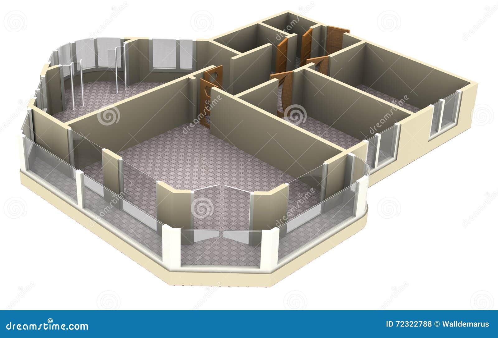 Wohnungsplan  Wohnungsplan Stock Abbildung - Bild: 72322788